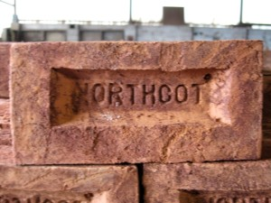 Northcot: handmade brick showing Northcot in the frog